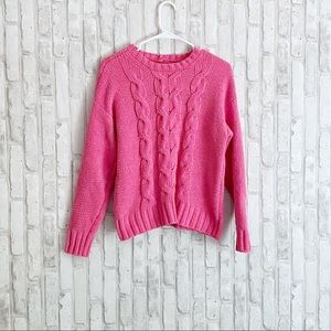 American Eagle Chenille Cable Knit Pink Sweater S